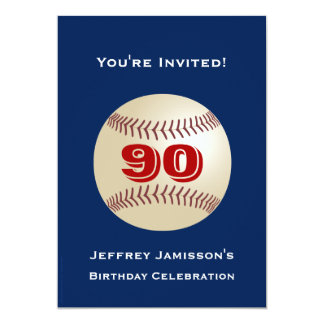 90th Birthday Party Invitation Baseball Personalized Invitations