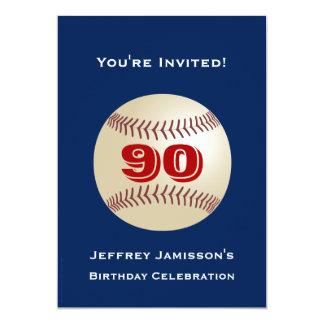 90th Birthday Party Invitation Baseball Adult