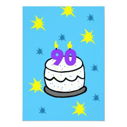 90th Birthday Party Invitation Cake & 90 Candle | Zazzle
