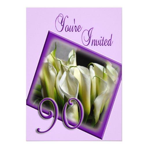 90th Birthday Party Invitation - Calla lilies