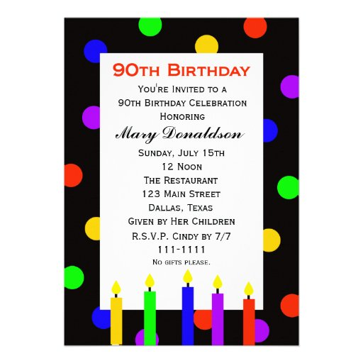 90th Birthday Party Invitation -- Candles and Dots