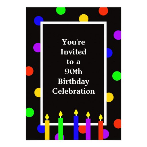 90th Birthday Party Invitation -- Colorful Candles