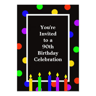 90th Birthday Party Invitation Colorful Candles