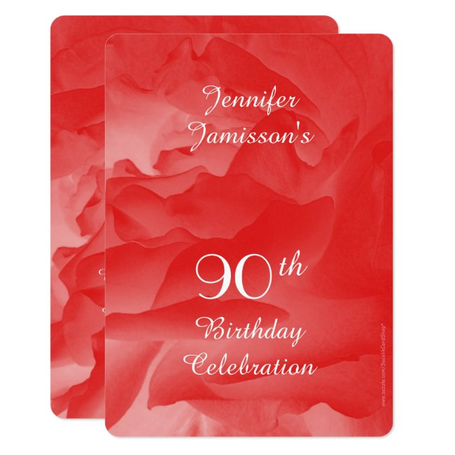 90th Birthday Party Invitation, Coral Pink Rose