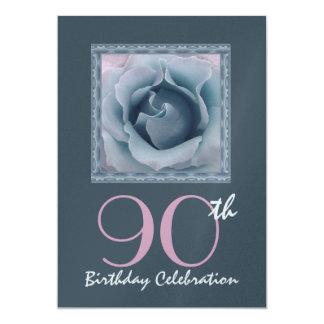 "90th Birthday Party Invitation DREAMY BLUE  Rose 5"" X 7"" Invitation Card"