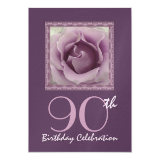 90th Birthday Party Invitation DREAMY PURPLE Rose