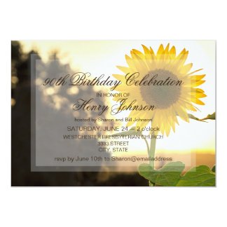 90th Birthday Party Invitation Featuring Sunflower