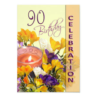 90th Birthday Party Invitation - Freesias candle