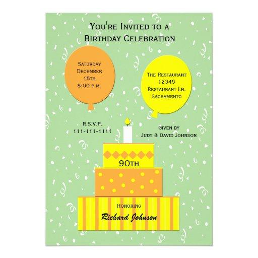 90th Birthday Party Invitation -- Fun 90th Cake