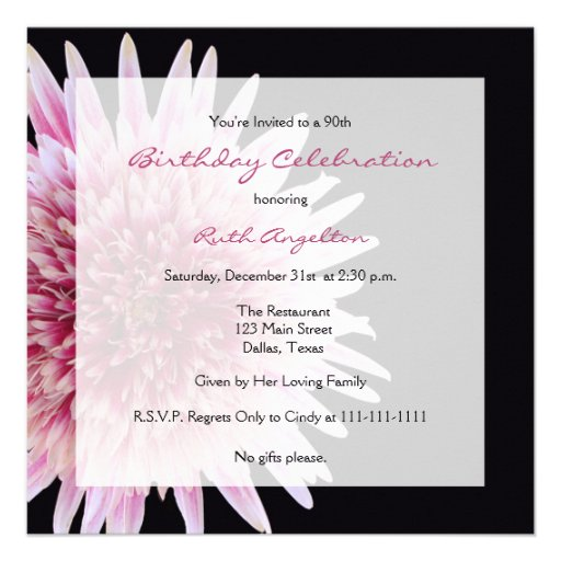 60th+Birthday+Program+Sample 90th Birthday Party Invitation -- Gerbera ...