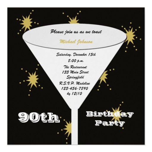90th Birthday Party Invitation -- Gold 90th Toast