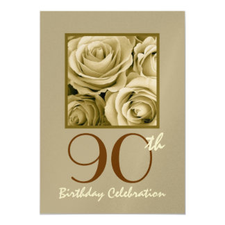 90th Birthday Party Invitation GOLD Roses