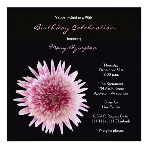 90th Birthday Party Invitation -- Gorgeous Gerbera