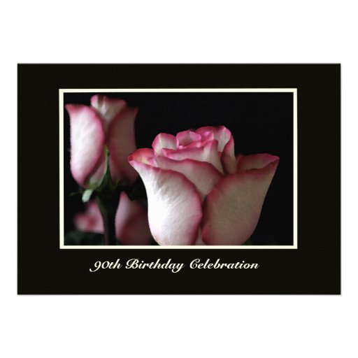 90th Birthday Party Invitation -- Gorgeous Roses