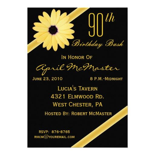 90th Birthday Party Invitation in Black & Gold