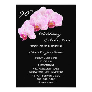90th Birthday Party Invitation Orchids