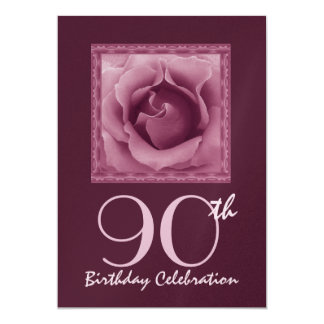 90th Birthday Party Invitation PINK & BERRY Rose