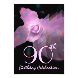 90th Birthday Party Invitation PINK Butterfly Rose