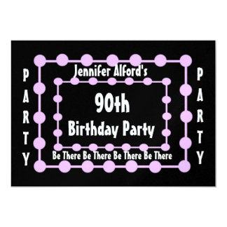 90th Birthday Party Invitation - Pink Puff Balls