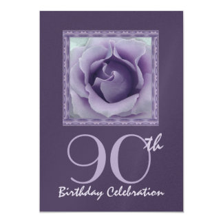 90th Birthday Party Invitation PURPLE Rose