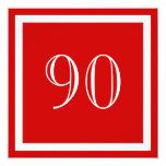 """90th Birthday Party Invitation - Red 5.25"""" Square Invitation Card"""