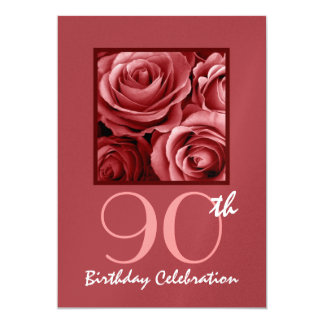 90th Birthday Party Invitation Red Roses