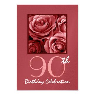 "90th Birthday Party Invitation Red Roses 5"" X 7"" Invitation Card"