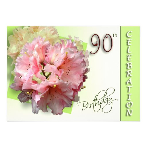 90th Birthday Party Invitation - Rhododendron