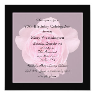 90th Birthday Party Invitation Rose For