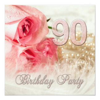 90th Birthday party invitation, roses and pearls 5.25x5.25 Square Paper Invitation Card