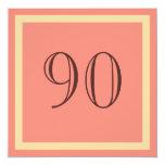 """90th Birthday Party Invitation - Salmon Coral 5.25"""" Square Invitation Card"""