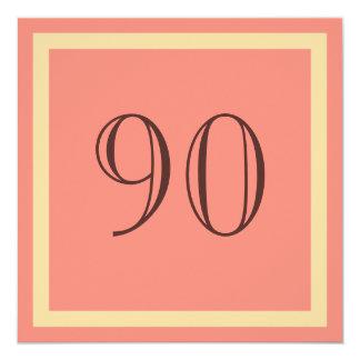90th Birthday Party Invitation - Salmon Coral