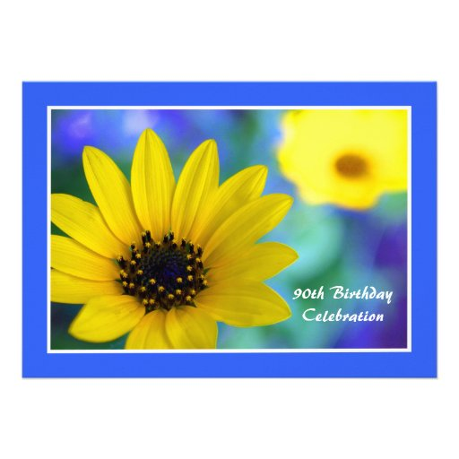 90th Birthday Party Invitation -- Sunflower