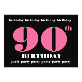 90th Birthday Party Invitation Template Pink Black