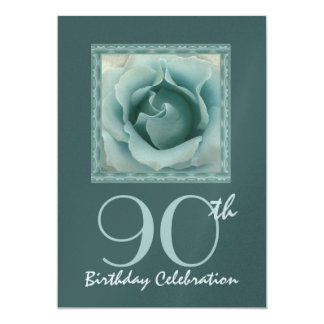 90th Birthday Party Invitation TURQUOISE Rose