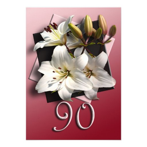 90th Birthday Party Invitation - white lilies