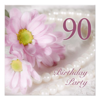 90th Birthday party invitation with daisies