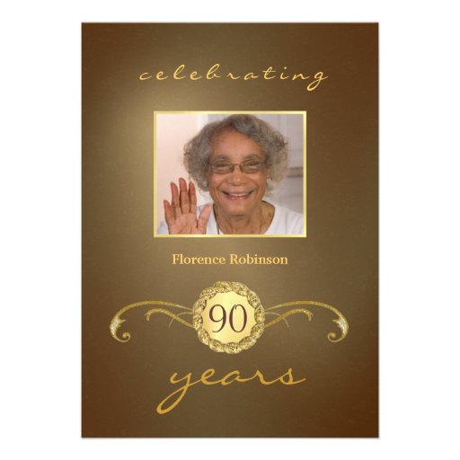90th Birthday Party Invitations - Antique Gold