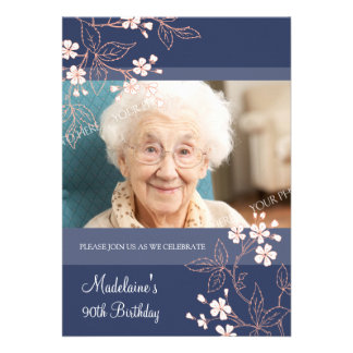 90th BIrthday Party Invitations Blue Coral Flowers