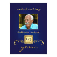 90th Birthday Party Invitations - Blue Monogram