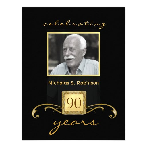 90th Birthday Party Invitations - Formal Monogram