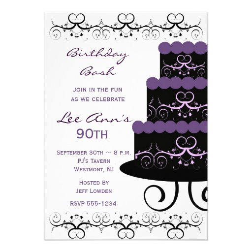 90th Birthday Party Invitations In Purple Swirl