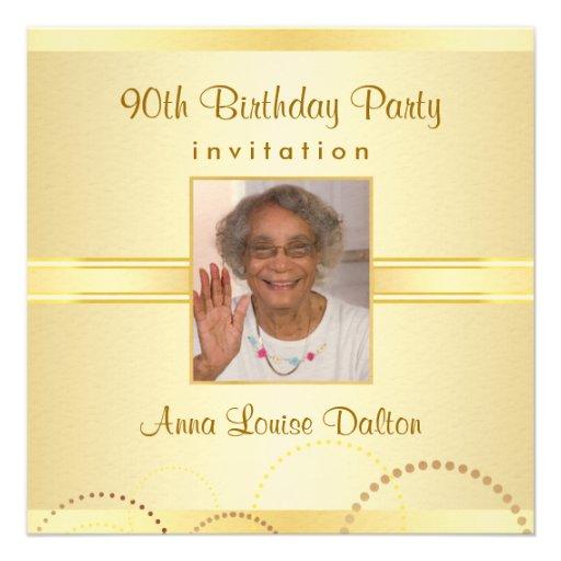 90th Birthday Party Invitations - Photo Optional 5.25 ...