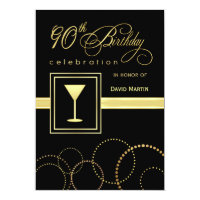 90th Birthday Party Invitations - with Monogram