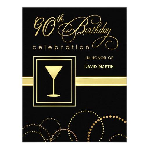90th Birthday Party Invitations - with Monogram