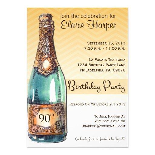 90th Birthday Party Invite in Gold Chevron Ombre