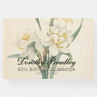 90th Birthday Party Narcissus Custom Guest Book