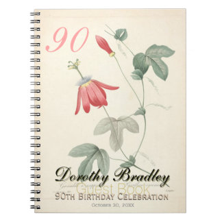 90th Birthday Party - Passiflora Custom Guest Book Notebook