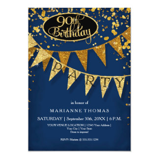 90th Birthday Party Pennant Banner Confetti 5x7 Paper Invitation Card