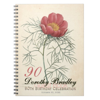 90th Birthday Party Peony Custom GuestBook Notebook
